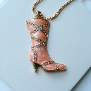 ❤️ NEW Crystal & Enamel Boot Pendant Necklace